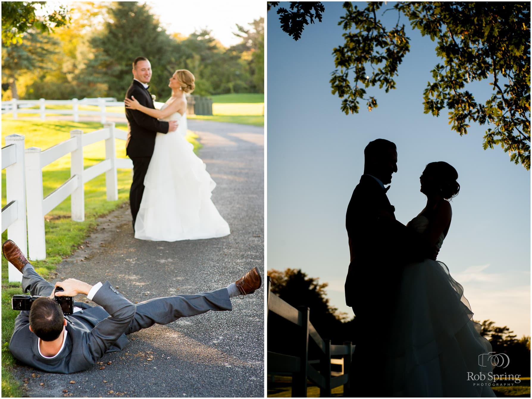 Albany Country Club Wedding photographer laying on ground for silhouette