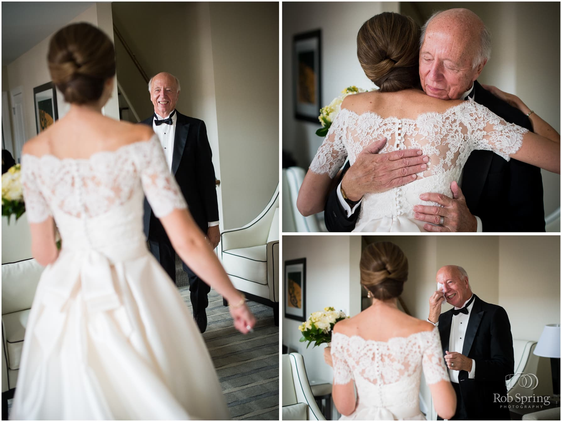 first look with dad at Pavilion Grand Hotel, Saratoga Springs, NY wedding photographer | Canfield Casino wedding