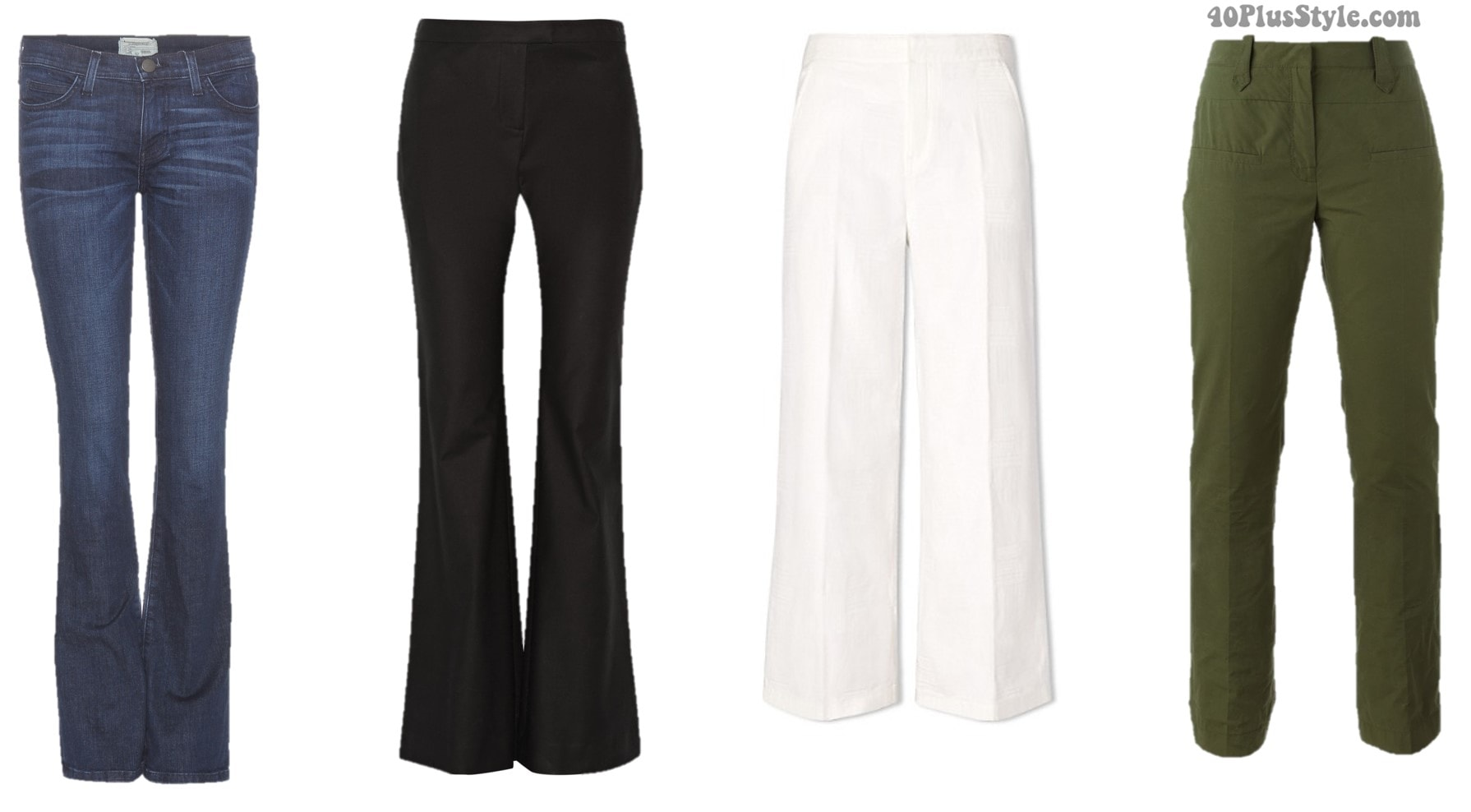 Inverted triangle shape spring pants cropped bootcut   40plusstyle.com