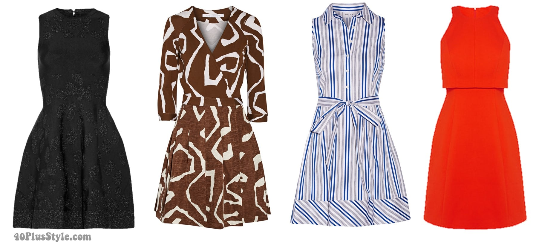 Inverted triangle body shape spring looks dresses a-line   40plusstyle.com