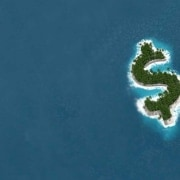 A remote island in the shape of a dollar sign