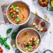 Tomaten Pfirsich Gazpacho