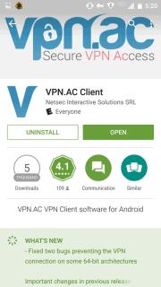VPN.ac app in play store