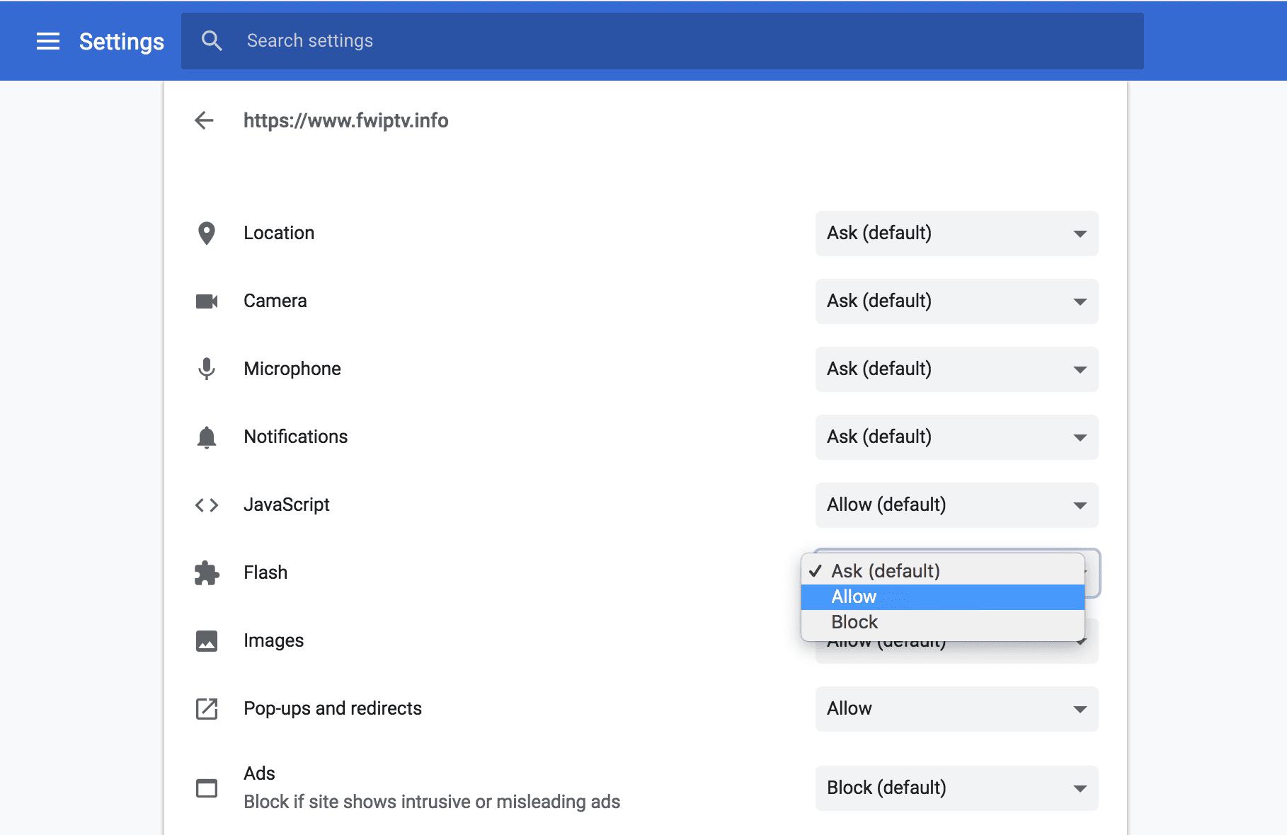 FlashPlayer Setting Chrome