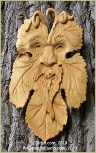 freen man relief carving by Lora Irish