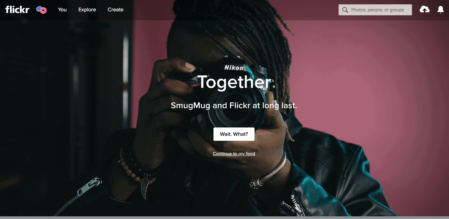 The Flickr home page, after the announcement