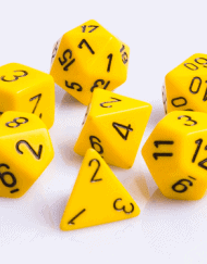 Polydice 7 Dobbelstenenset Geel met Zwart D&D Dice Dungeons and Dragons RPG