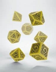 Polydice 7 Dobbelstenenset Yellow & Black Celtic Q-Workshop