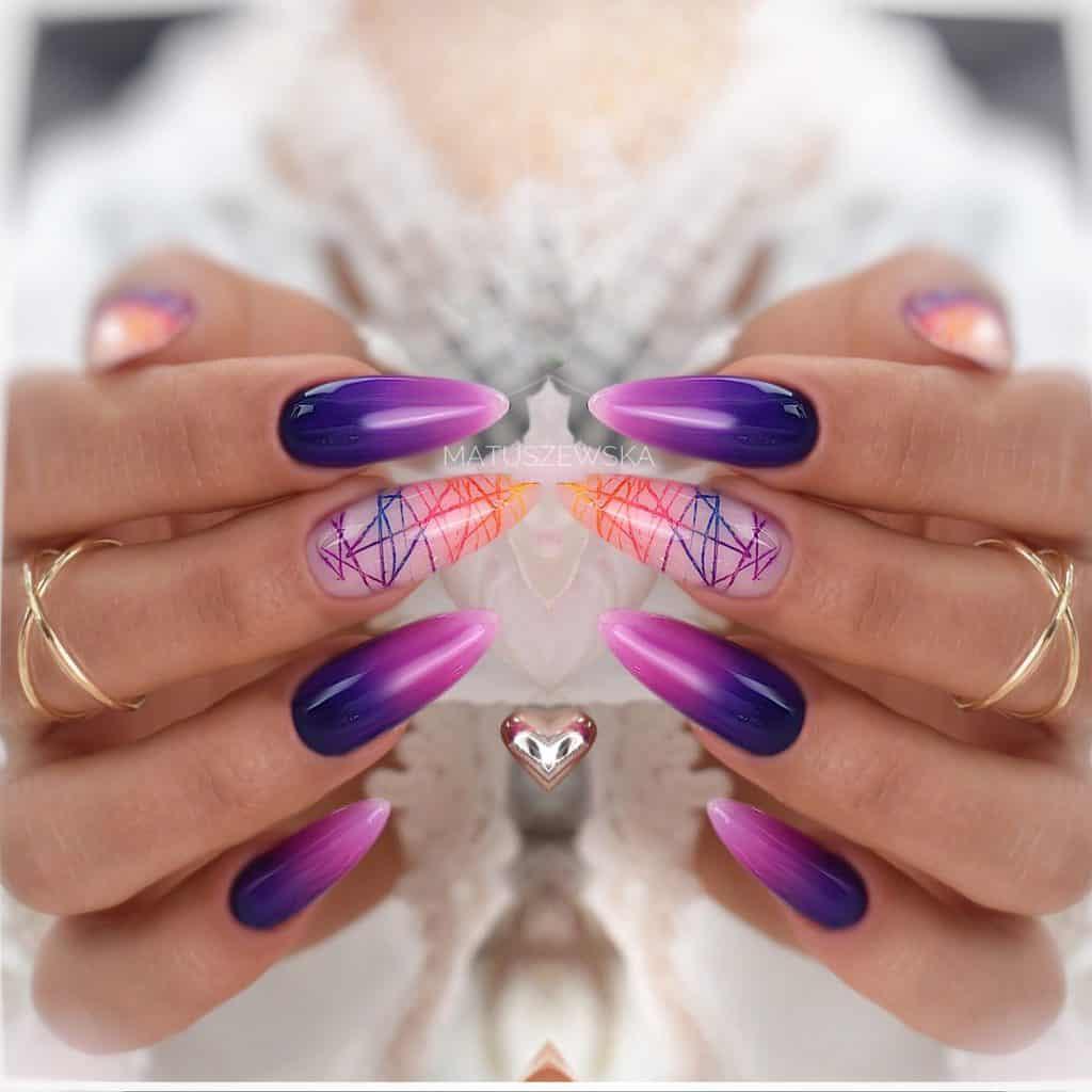 fioletowo różowe paznokcie ombre