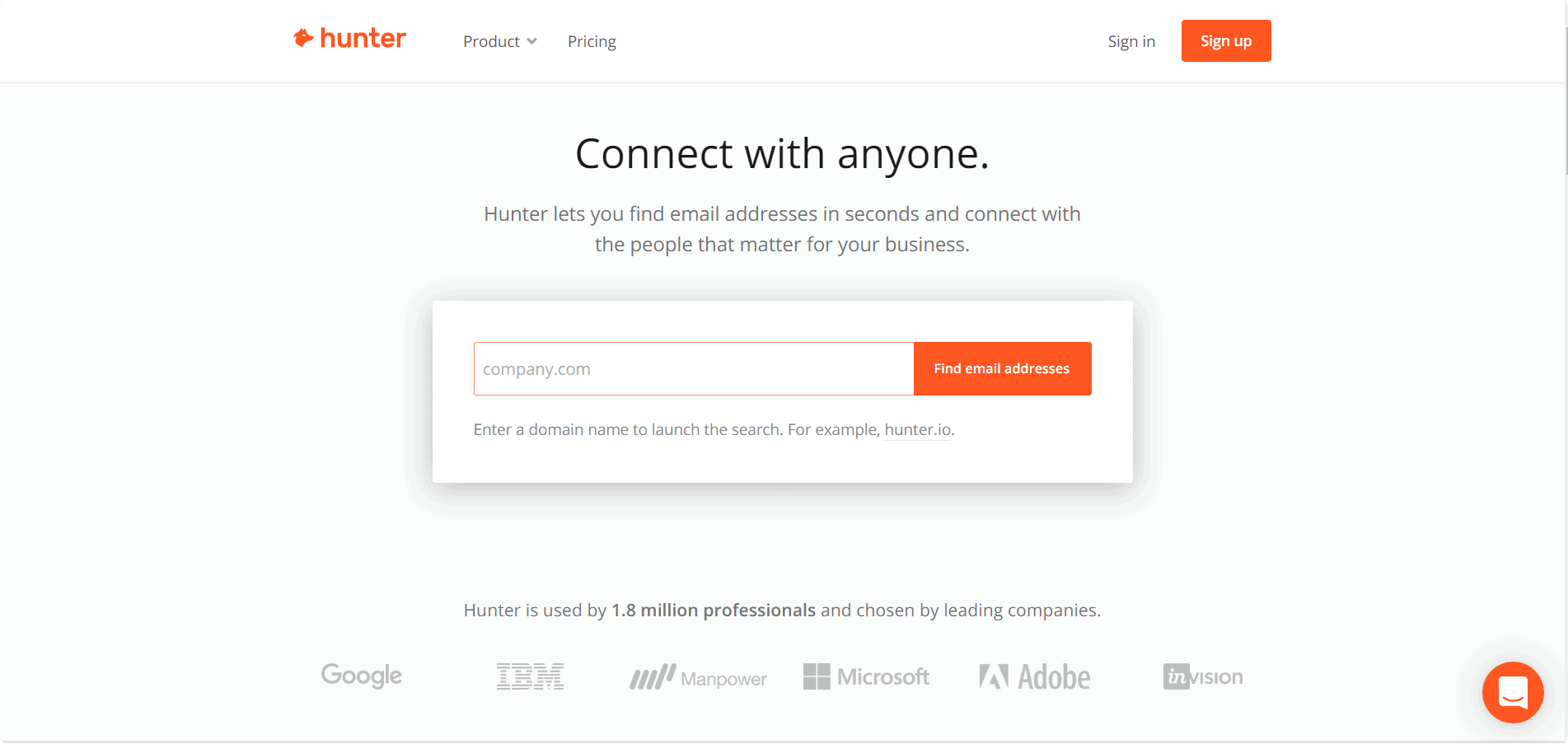 Hunter email finding tool
