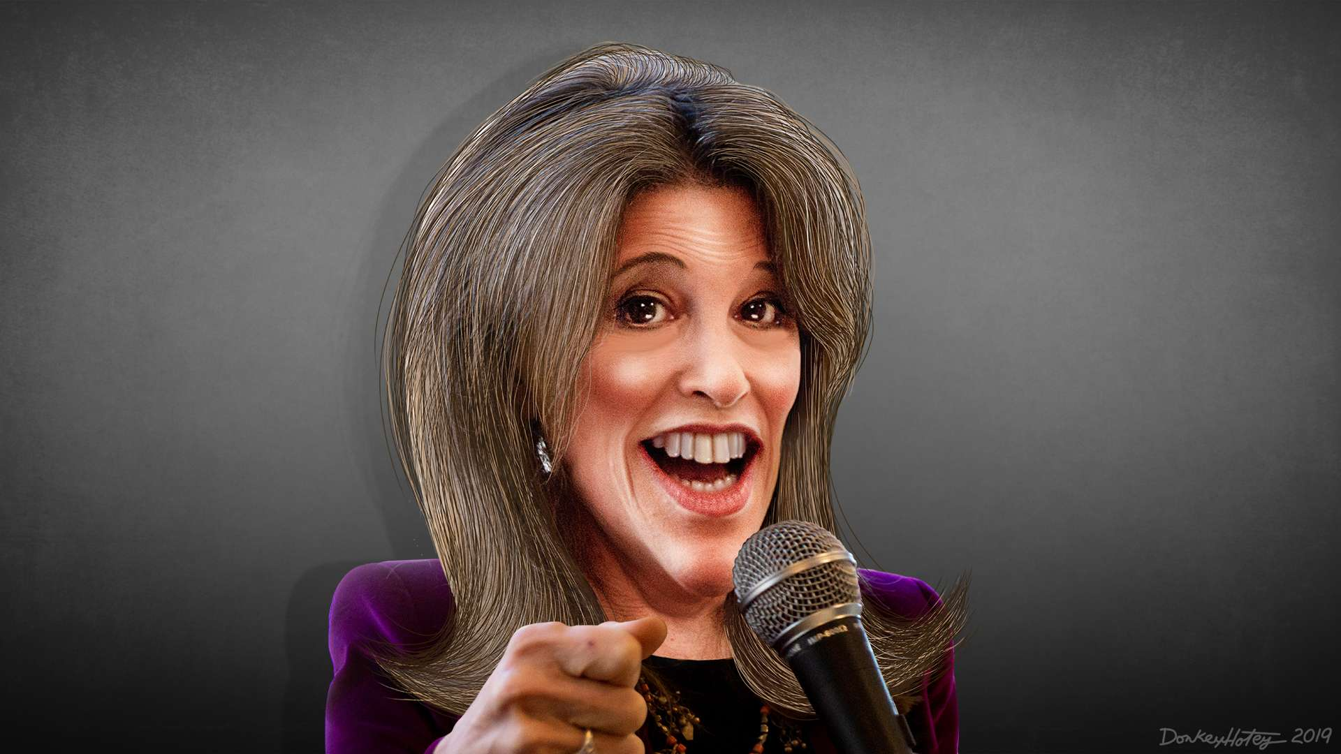 A caricature image of Marianne Williamson, a candidate for the Democratic presidential nomination in 2020. (Image Credit: DonkeyHotey/Flickr)