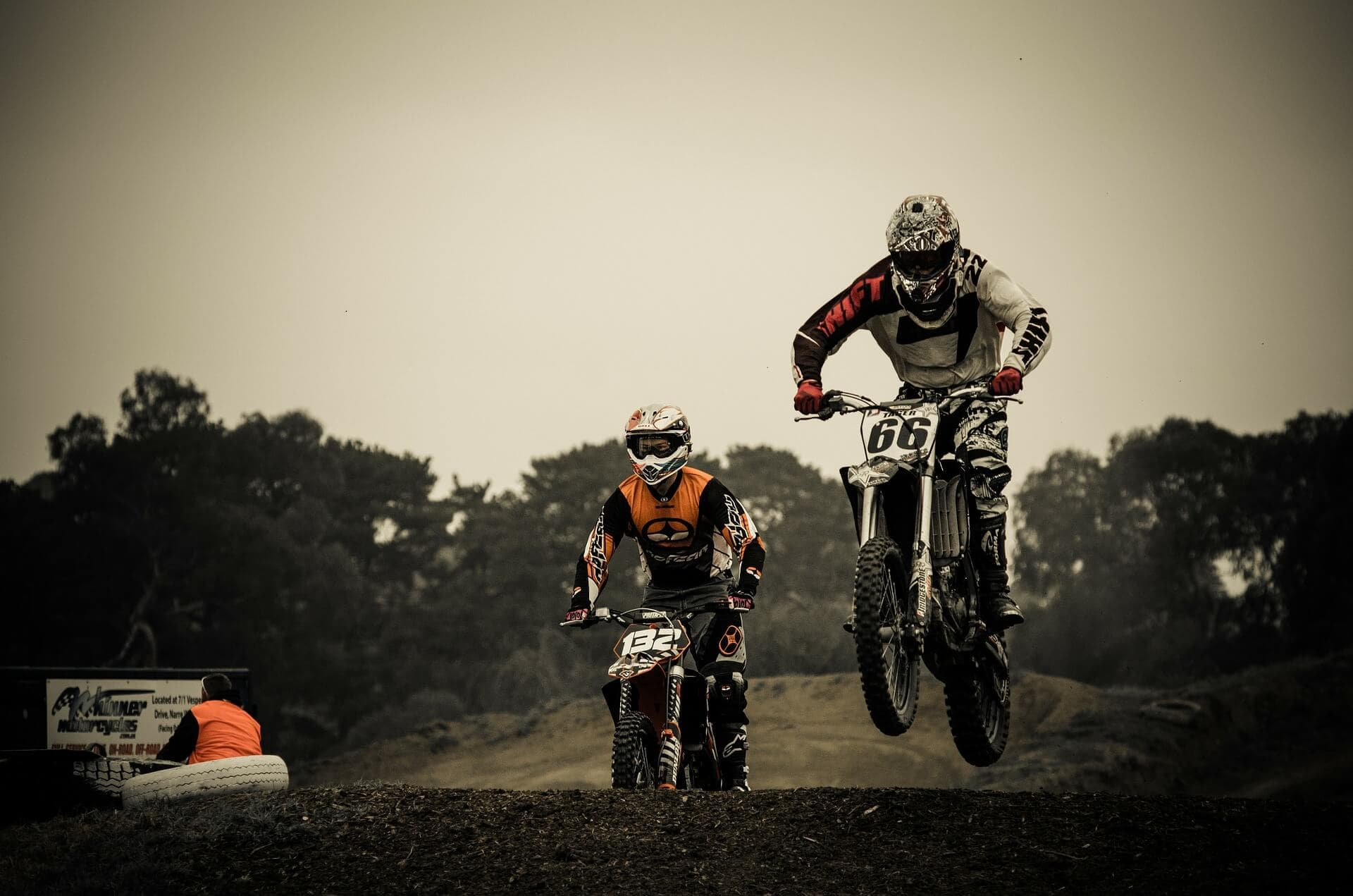 Dirt bike riding on the track