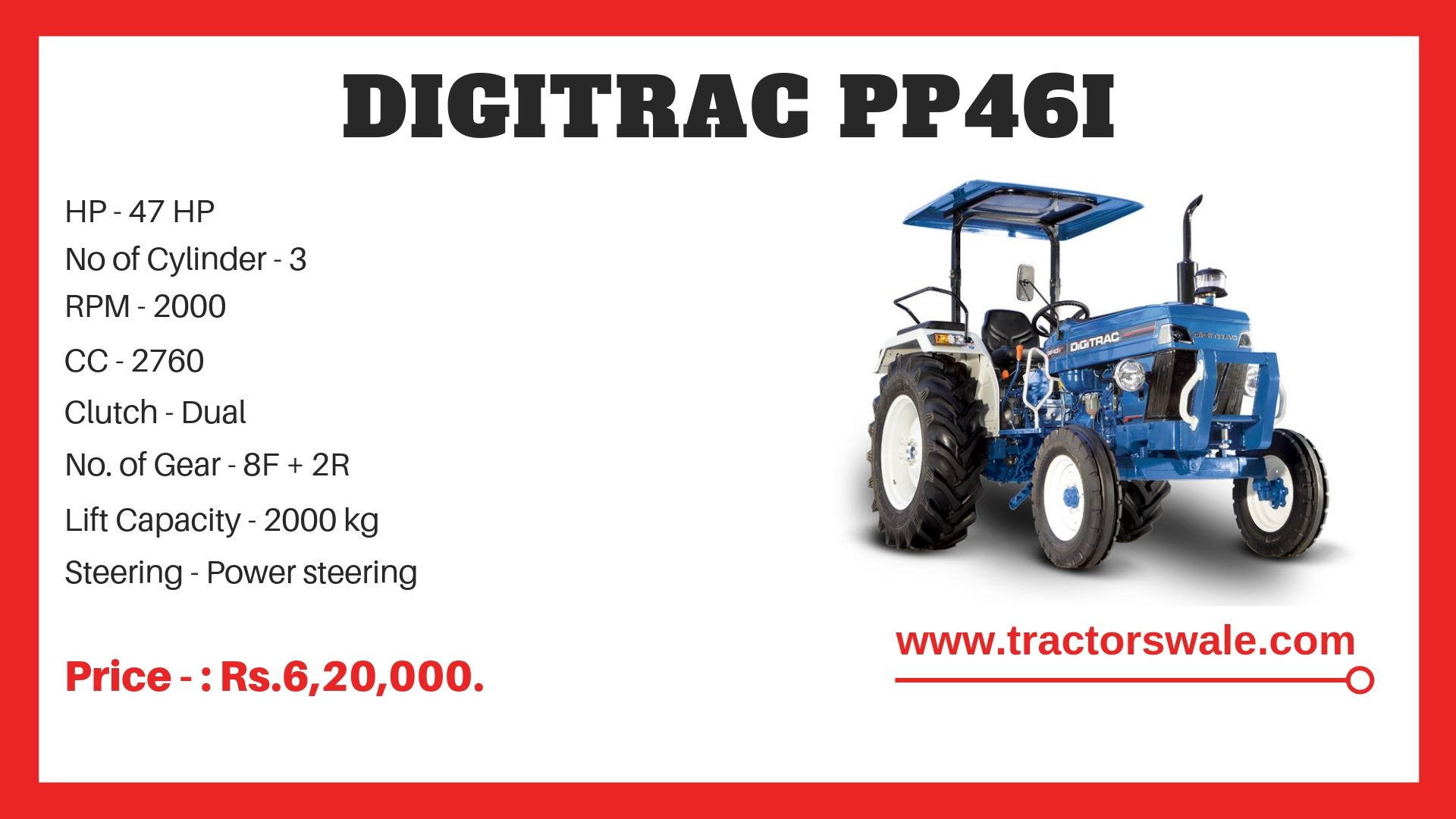 Digitrac PP43i Tractor Specifications