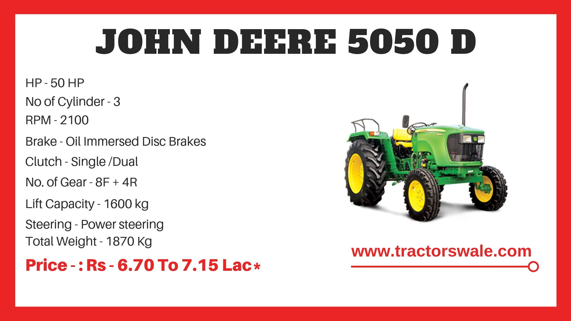 John Deere 5050 D Tractor Specifications