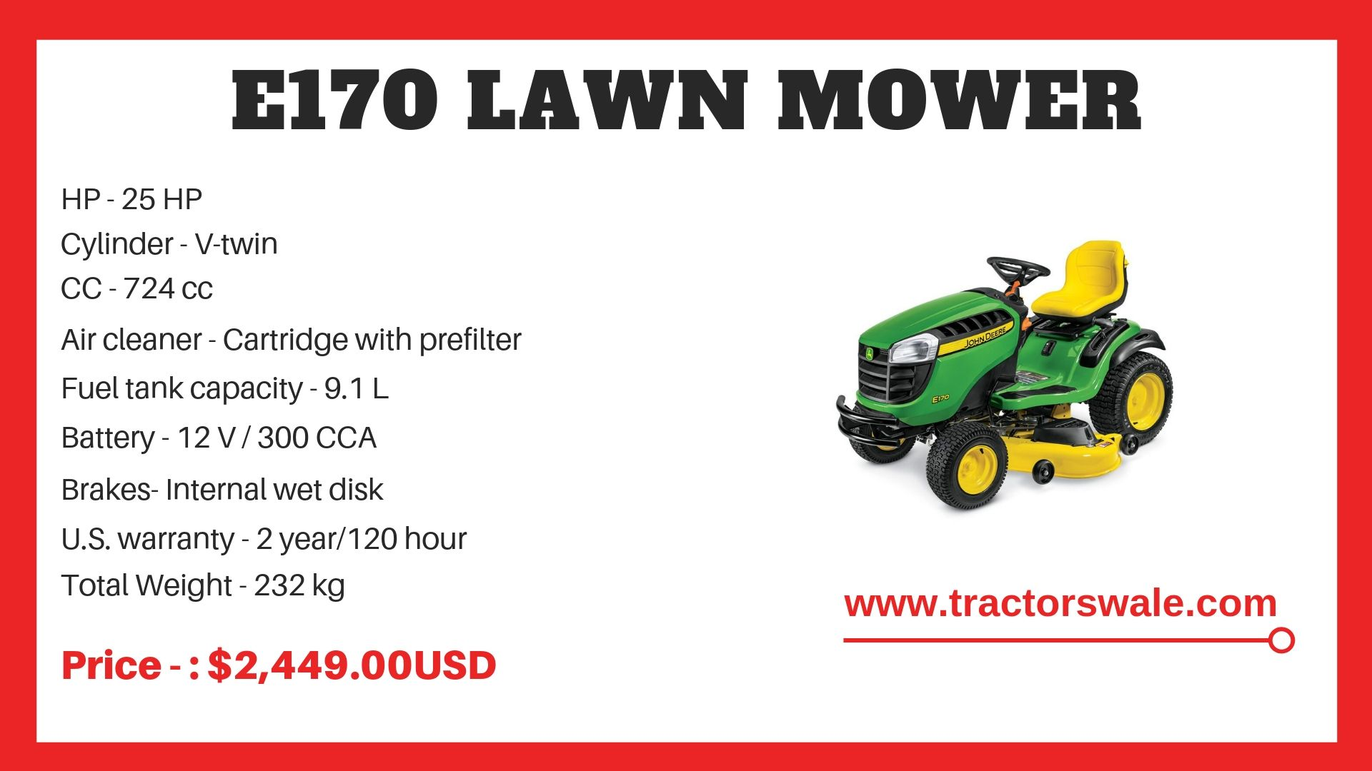 John Deere Tractor e170 Specifications