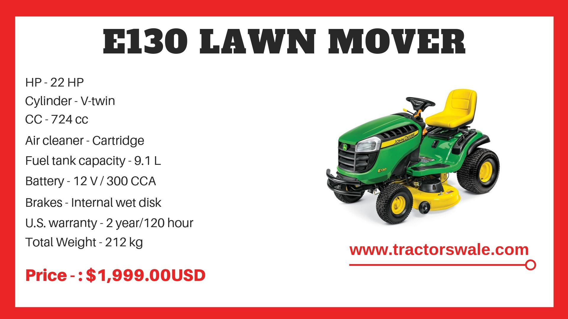 Lawn Mower Tractor E130 Specifications