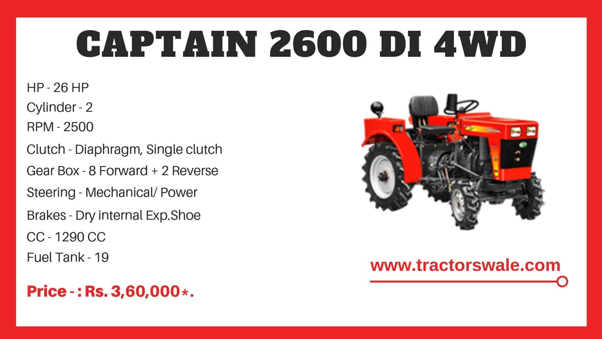 Specification of Captain 2600 DI 4WD