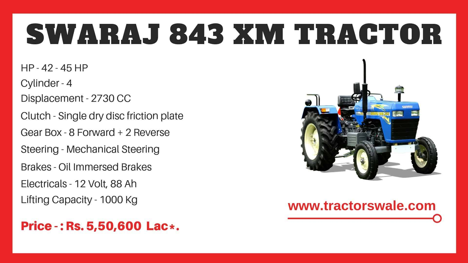 Specification of Swaraj 843 XM Tractor