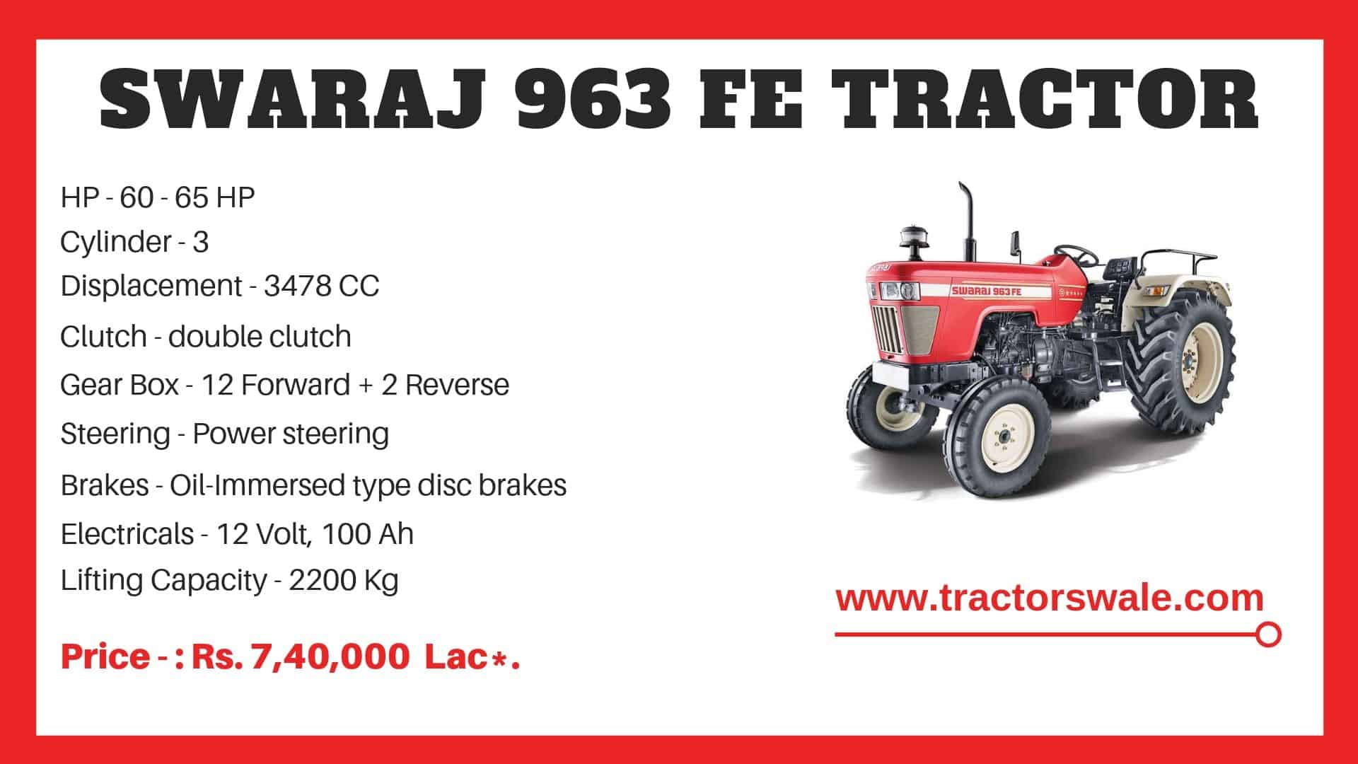 Specification of Swaraj 963 FE Tractor