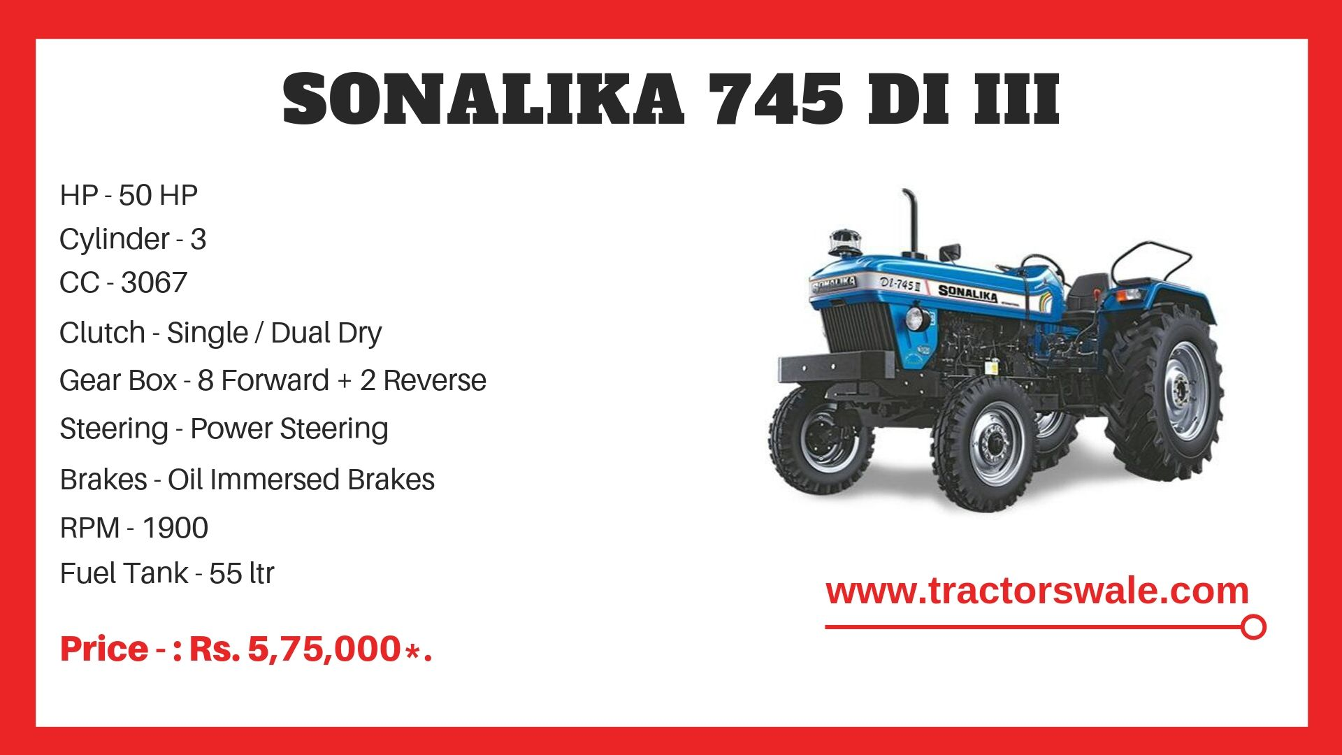 Sonalika 745 DI III tractor specifications