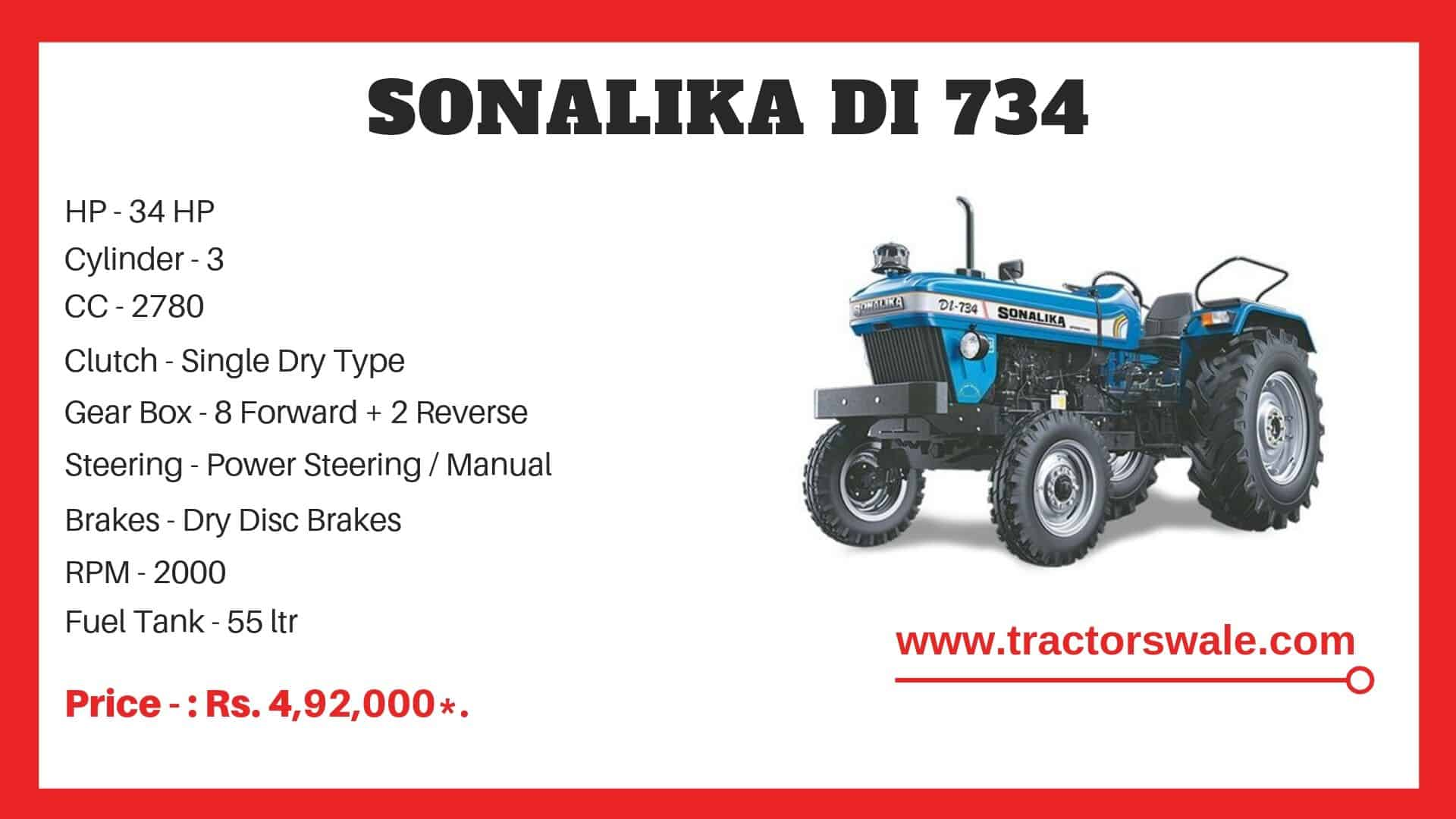 Sonalika DI 734 tractor specifications