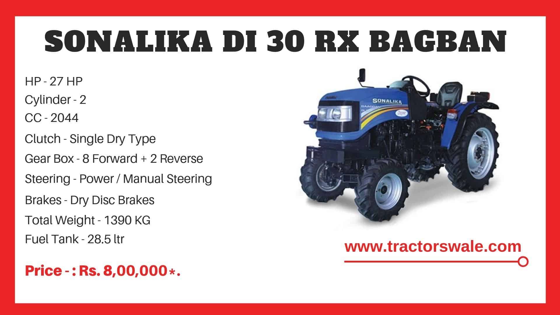 Specifications Of Sonalika DI 30 RX BAGBAN SUPER Tractor