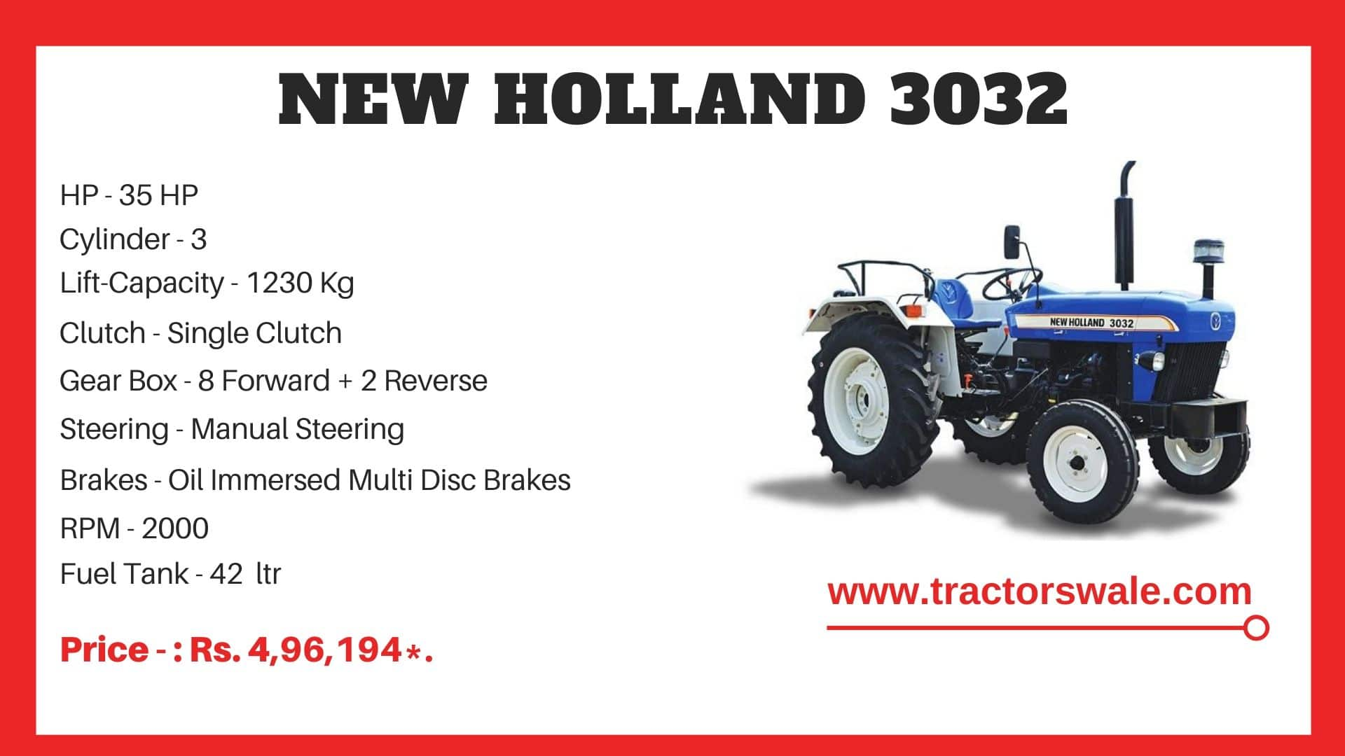 New Holland 3032 tractor specs