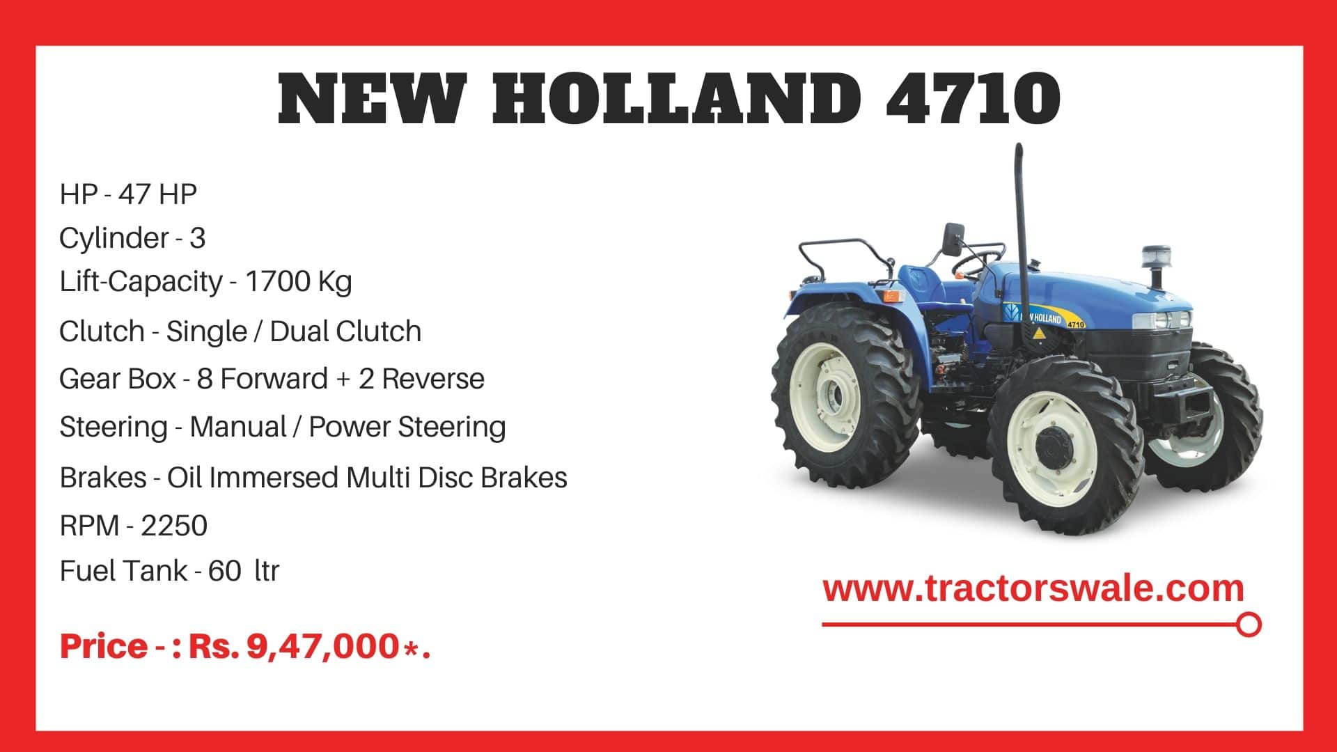 New Holland 4710 tractor price