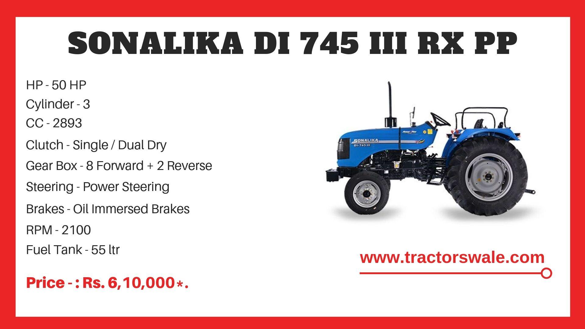 Sonalika DI 745 III RX PP tractor specs