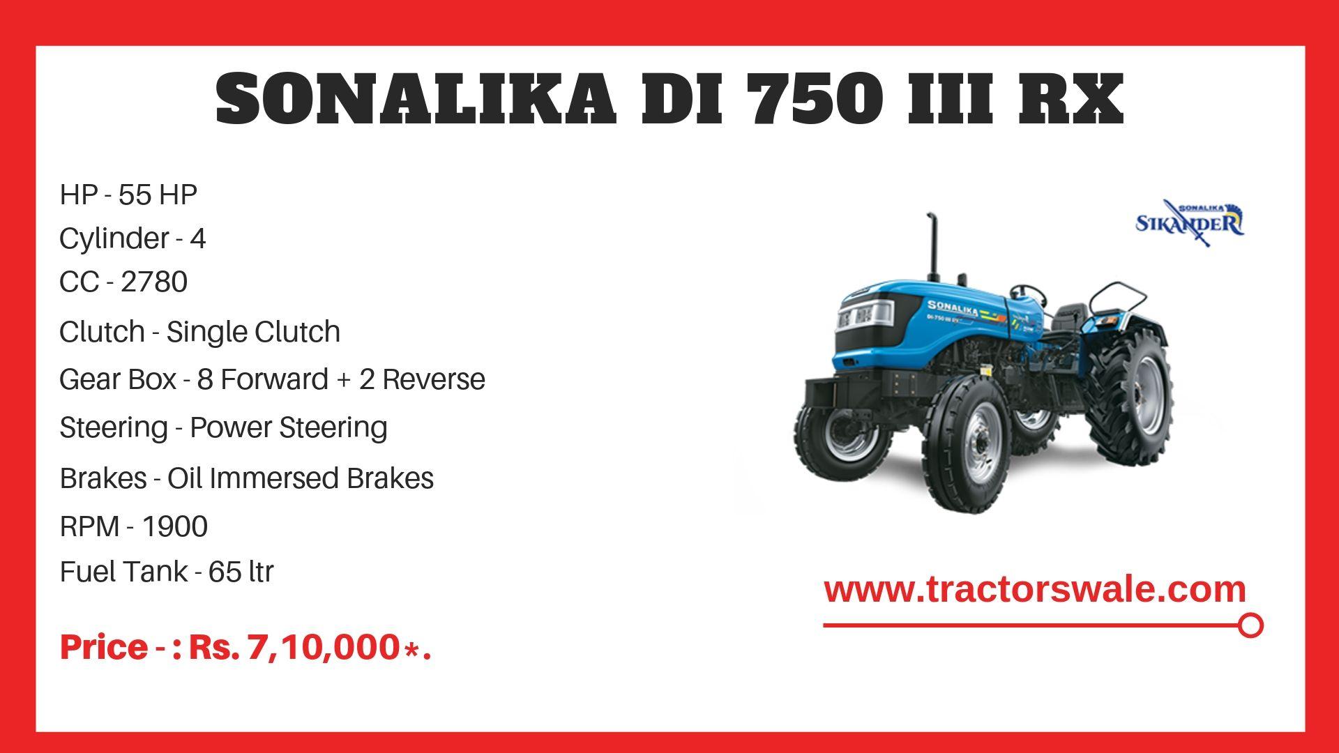 Sonalika DI 750 III RX Tractor specs