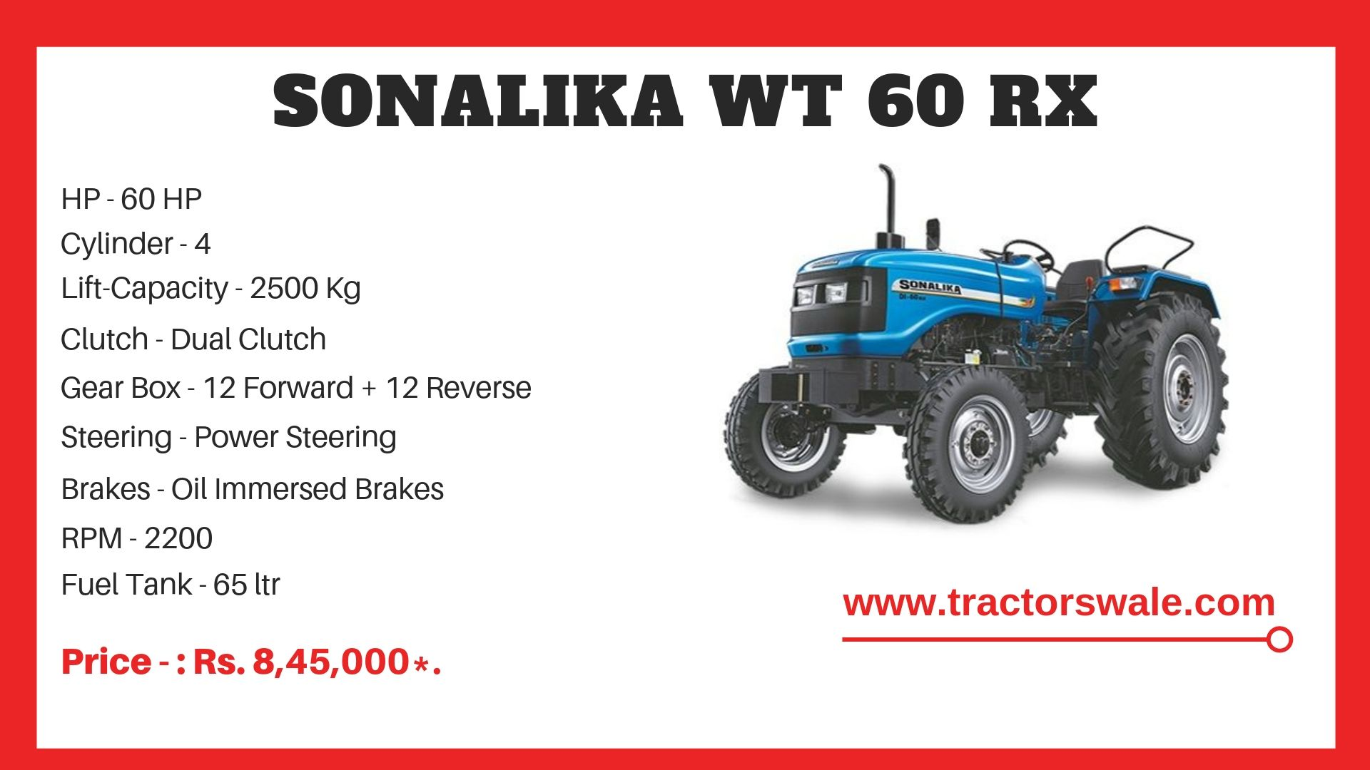 Sonalika Worldtrack 60 RX tractor specifications