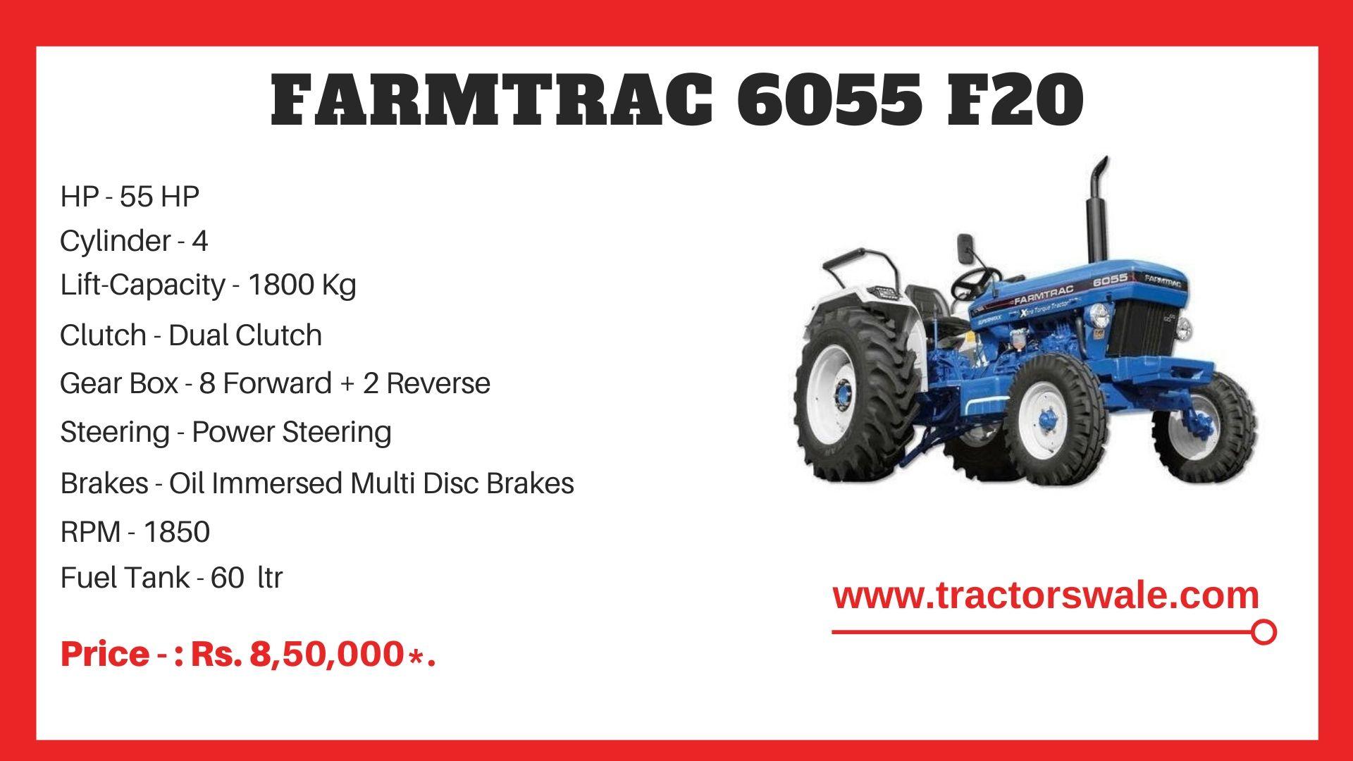 Farmtrac 6055 F20 tractor price