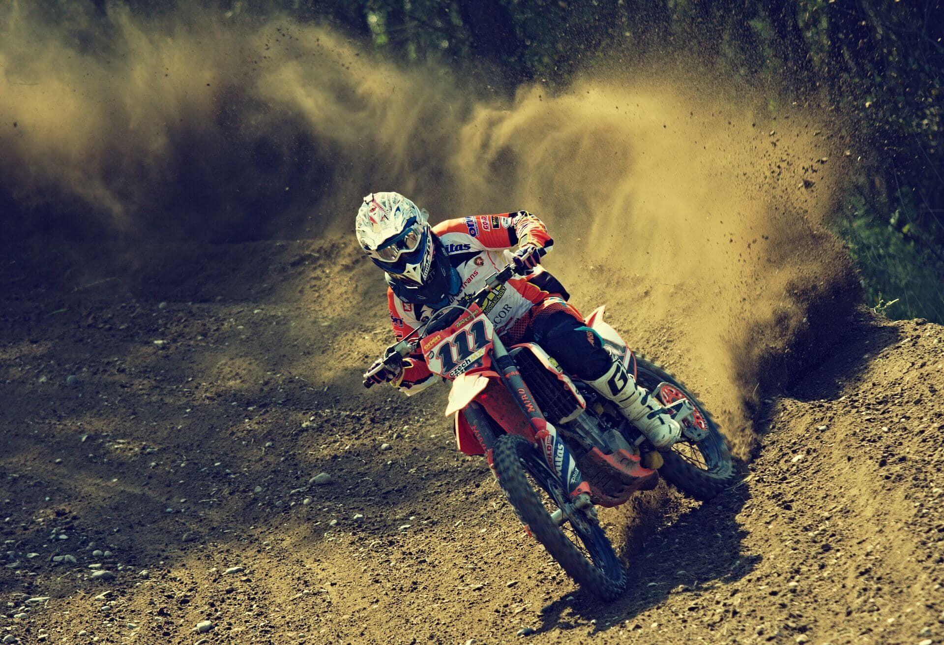 Riding Dirt Bike on Motocross Trail
