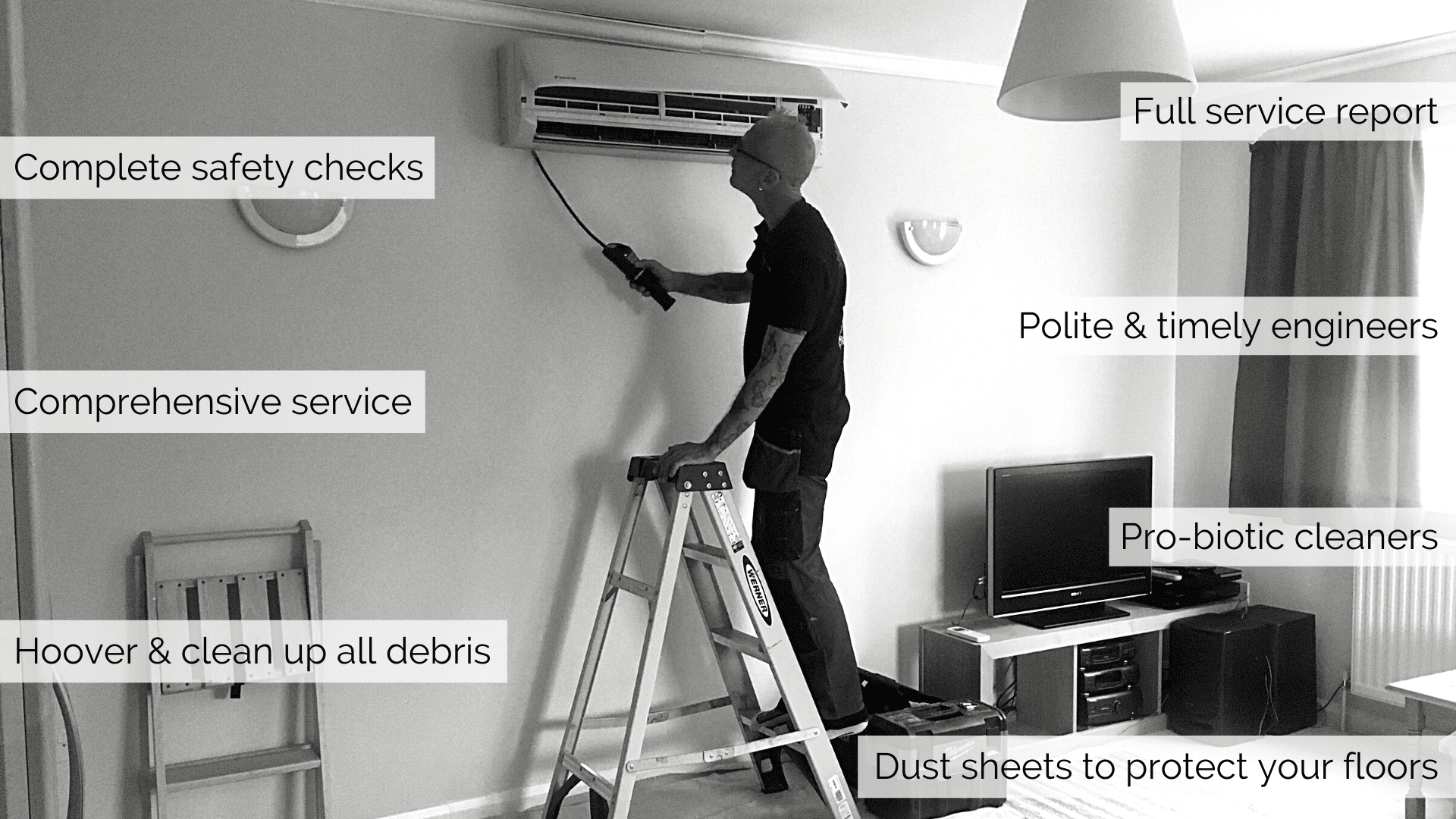 What's in a SubCool service? Complete safety checks, comprehensive service, hoover and clean up debris, full service report, polite and timely engineers, pro-biotic cleaners, dust sheets to protect floors