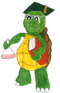 A wise tortoise with a book in one hand and a chemical beaker in another