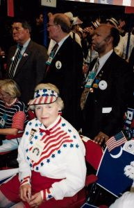 Martha in full party regalia on the floor of the 1992 Republican Convention in Houston, Texas.