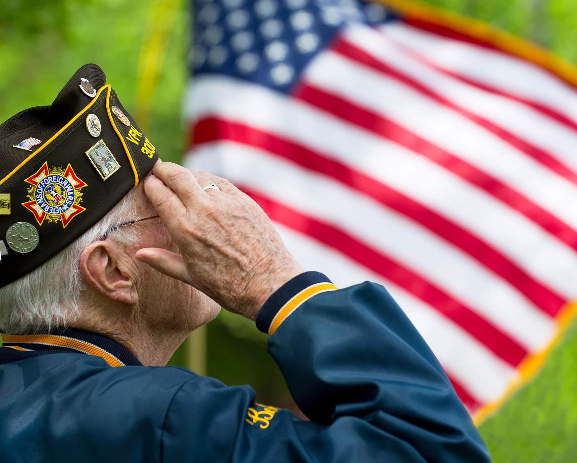 Veteran Saluting US Flag
