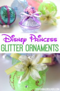 These DIY Disney Princess Glitter Ornaments are perfect for the Disney fan. This easy craft will look perfect hanging on the Christmas tree.