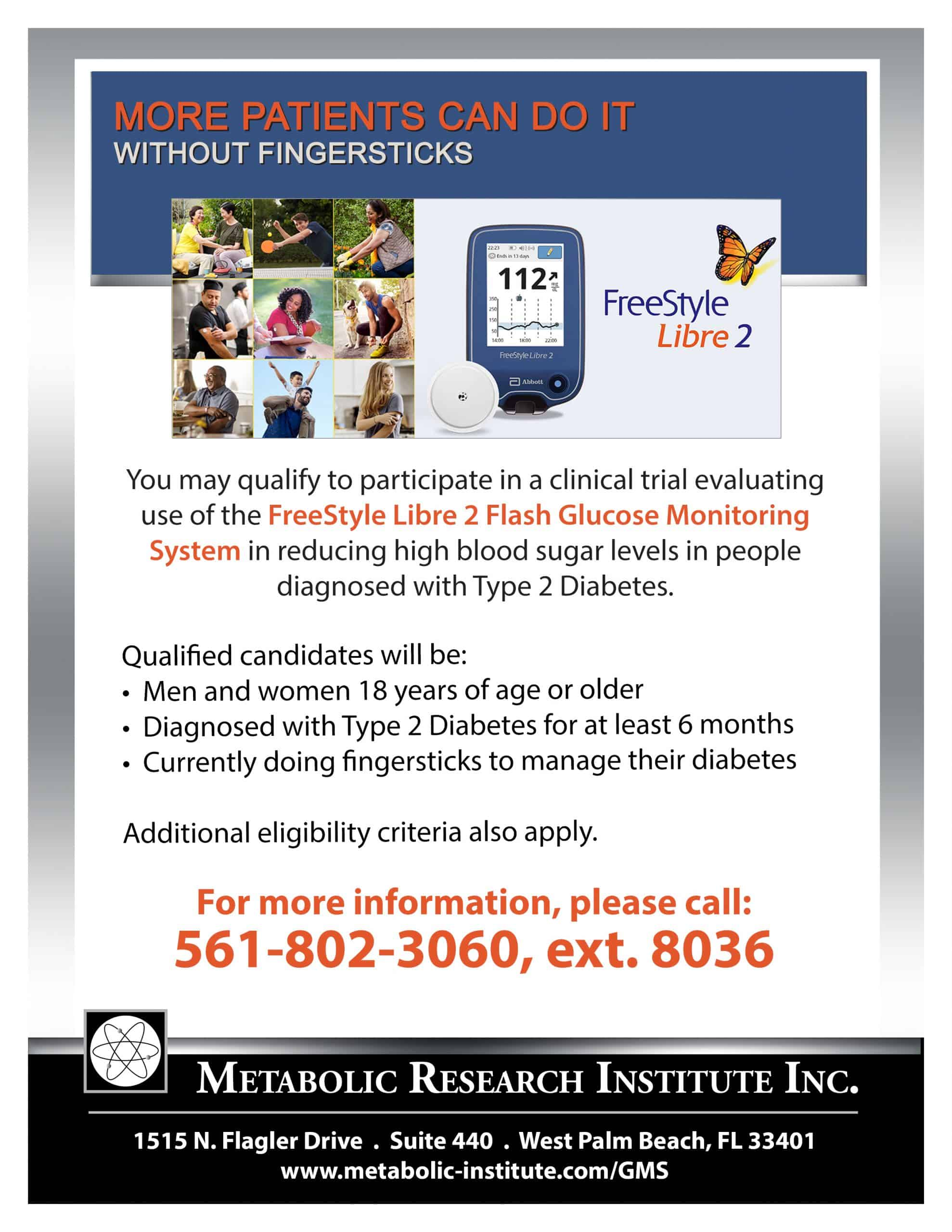 Freestyle Libre 2 Flash Glucose Monitoring System Clinical Study Flyer