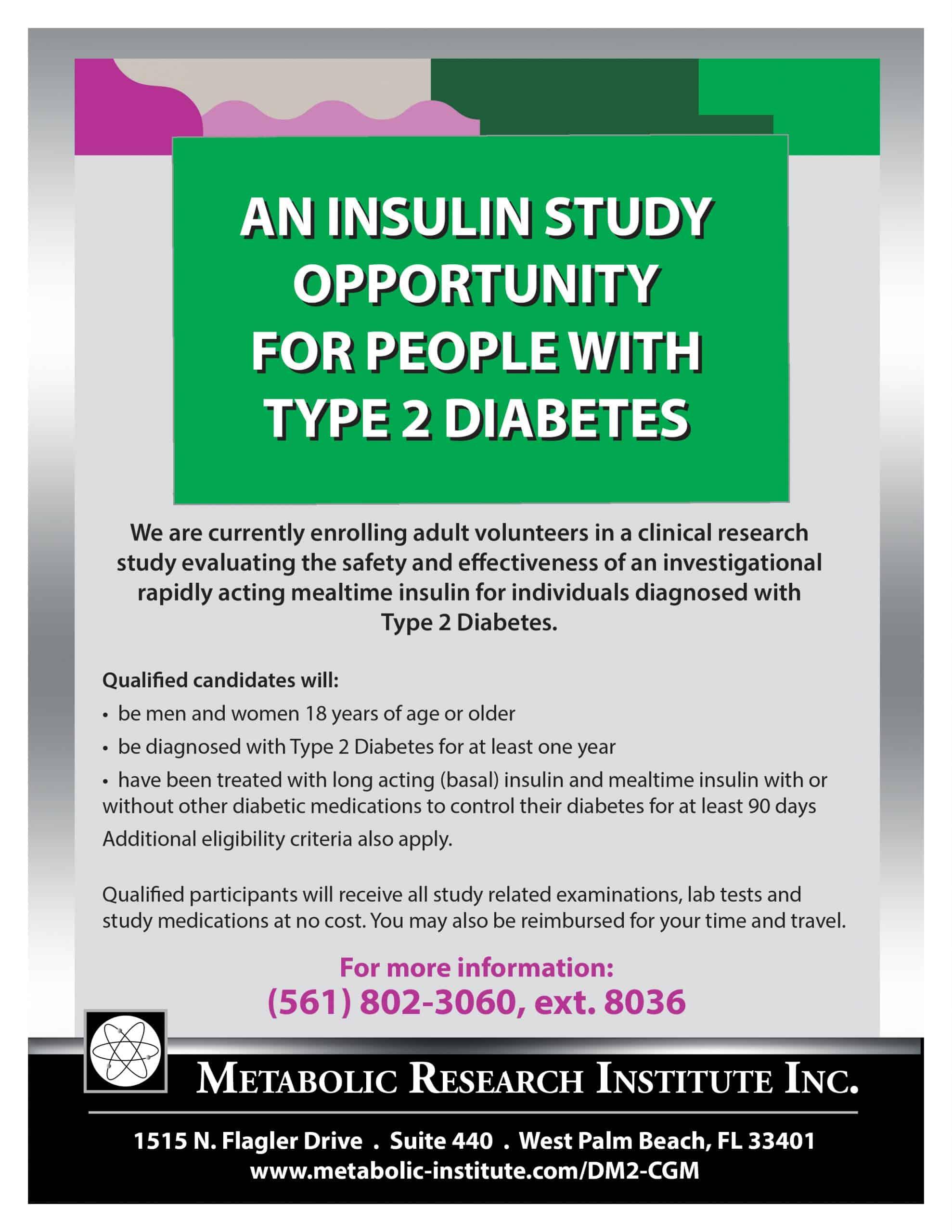 Type 2 Diabetes Clinical Study Flyer