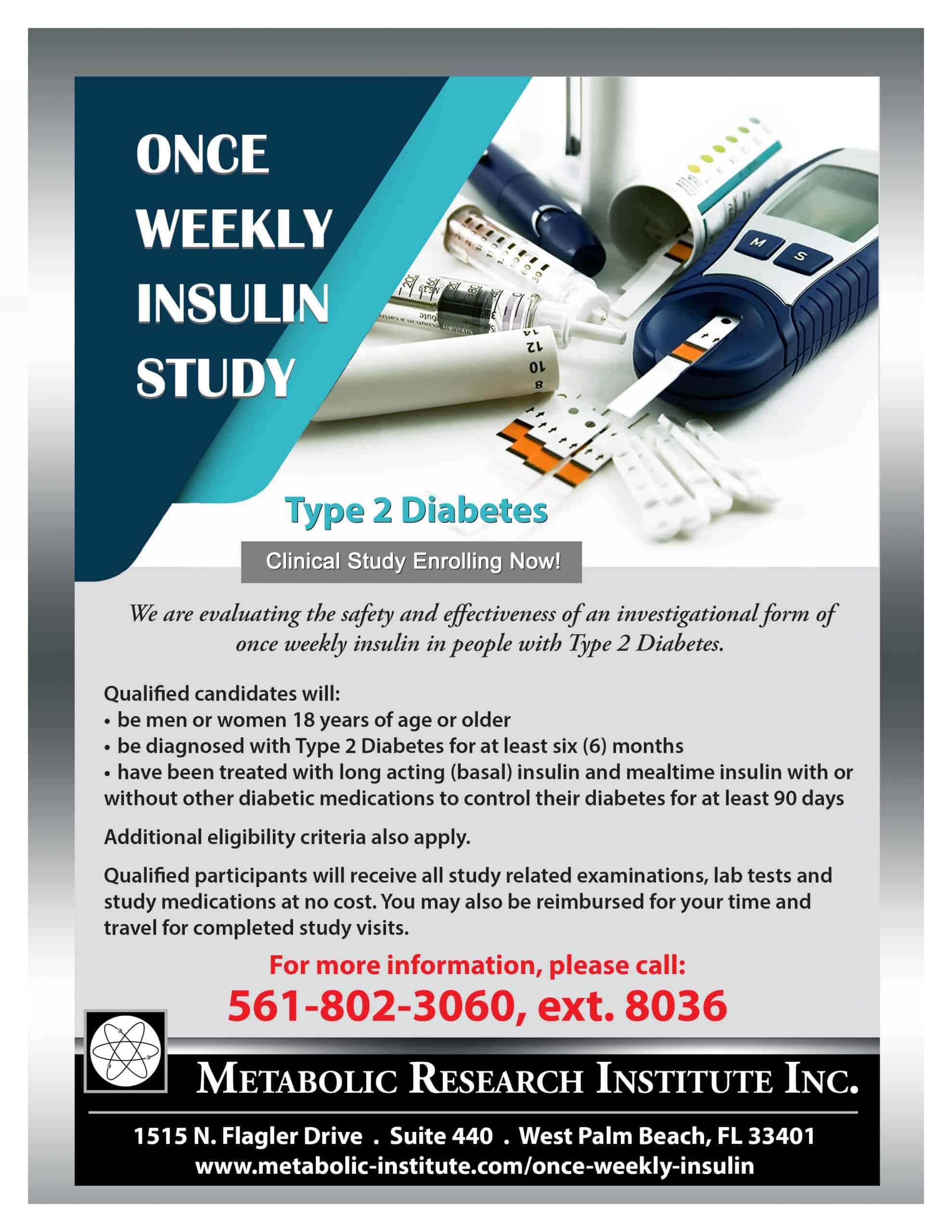 ONce Wekly Insulin for Type 2 Diabetes Study Flyer