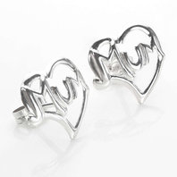 Sterling Silver Mum Heart Stud Earrings
