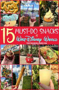 Eat your way around the happiest place on earth and try a few of these 15 Must Eat Snacks At Walt Disney World. #WaltDisneyWorld #DisneySMMC #Disney #DisneyFood #DisneySnacks