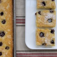 Enjoy fresh cherries and crunchy almonds together in this Cherry Almond Sheet Cake.