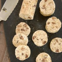 Chocolate Chip Pecan No-Bake Cookies on a cutting board
