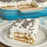serving of Cannoli Icebox Cake on a plate