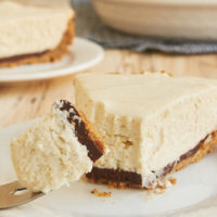 slice of Black Bottom Vanilla Bean Cheesecake