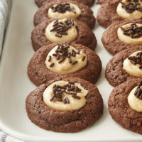 Chocolate Peanut Butter Thumbprint Cookies on a white tray