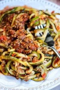 zoodles with fork
