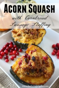 Acorn Squash with Cornbread Sausage Stuffing from How Does Your Garden Grow? ~ www.thefarmgirlgabs.com